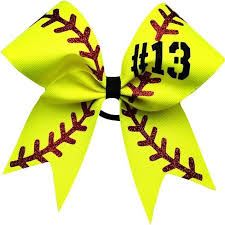 softball ribbon softball bow with your number approximately 6 by6 made with