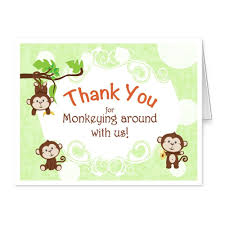 monkey invitations baby shower baby shower thank you cards folded thank you notes jungle monkey