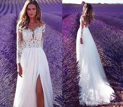 wedding reception dresses discount vintage lace 2018 summer wedding dresses boho split