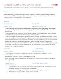 licensed professional counselor resume resume