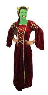 Fiona Halloween Costume Ladies Fiona Ears Red Princess Dress Green Face Paint Fancy