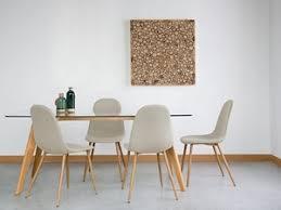 cucina e sala da pranzo sedia moderna da pranzo in legno e tessuto beige bruce sedie