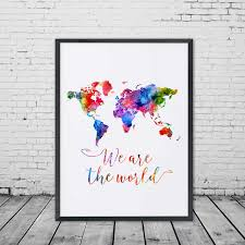 World Map Wall Poster by World Map Watercolor Poster U2013 We Are The World U2013 Travel Bible Shop