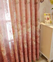 Peach Floral Curtains Floral Embroidery Chenille Beautiful Valance Curtains