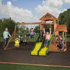 cedar play park wooden swing set
