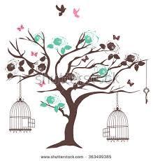 vector illustration vintage tree bird cages stock vector 363499385