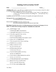 linking verb or action verb 5th 7th grade worksheet lesson planet