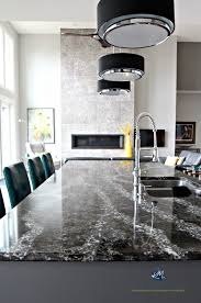 cambria ellesmere black quartz island countertop dramatic pendant