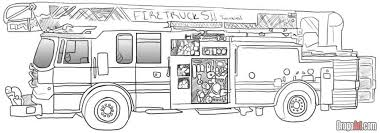 learn how to draw a fire truck trucks transportation free step