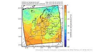 Europe Temperature Map by Terrsysmp Monitoring Run 2017 05 28 500hpa Air Temperature Aund
