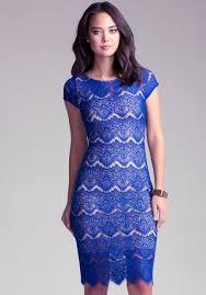 bebe open back lace midi dress in blue lyst