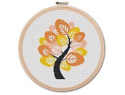 autumn tree counted cross stitch pattern pdf cross stitch