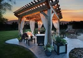 Pergola With Curtains Wooden Pergola Curtains Romatisch Lights Garden Furniture