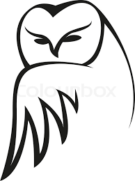black and white vector doodle sketch of an owl peering at the