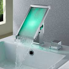 Modern Bathroom Taps Contemporary Color Changing Led Waterfall Widespread Bathroom Sink