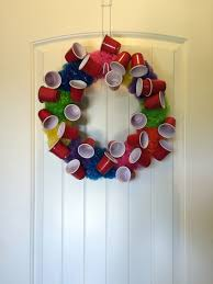 redneck home decor red solo cup wreath college decor party decor solo cup party