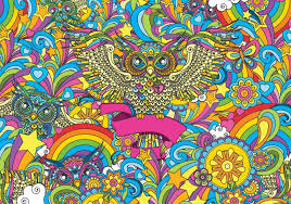 colorful owls stars rainbow flowers wall paper mural buy at colorful owls stars rainbow flowers wallpaper mural