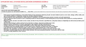 gypsum dry wall systems installer cv work experience