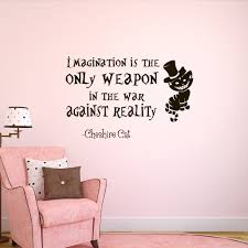 Wall Stickers Cats Alice In Wonderland Wall Decal Cheshire Cat Quote Imagination