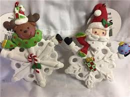 set 2 5 clay dough santa snowflake ornaments santa