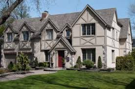 tudor home love the red door on a gray scale home future home