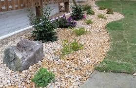 large size front yard landscape designs with river rocks