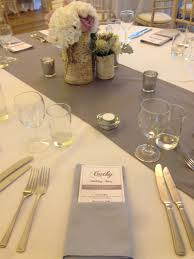grey table runner wedding for spring could do the grey with hints of yellow and the sage in