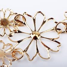 gold flowers necklace images Western style multilayer pendants rhinestone gold hollow flowers jpg