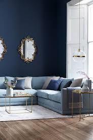 captivating living room painting art and decorating ideas dark captivating living room painting art and decorating ideas dark blue wall light blue velvet letter l sofa golden frame table