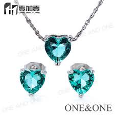 stone pendant necklace wholesale images Wholesale heart crystal single stone pendant and earrings jewelry jpg