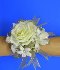 White Rose Wrist Corsage Florist Cart Yf3853 Wrist Corsage White Rose 2 Stephanotis 2
