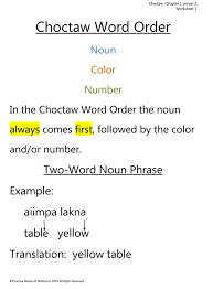 lesson two of choctaw language