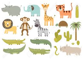 cute isolated safari animals collection great for baby shower