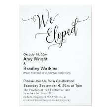 post wedding invitations we eloped typography post wedding celebration card wedding