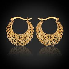 gold plated earrings exclusive vintage style real 18k gold plated hoop earrings