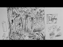 pen u0026 ink drawing tutorials how to draw a forest scene or
