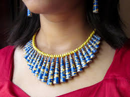necklace from beads images Buy paper bead necklace bright blue yellow paper beads necklace jpg