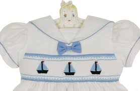 nautical attire carriage boutique white smocked dress and bloomers with boat
