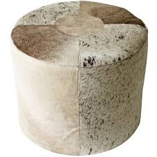 Tufted Pouf Ottoman by Accessories Favorable Dark Brown Leather Cowhide Tufted Button