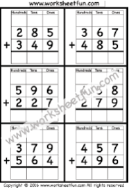 3 digit addition with regrouping u2013 carrying u2013 5 worksheets