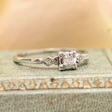vintage art deco 14k white gold diamond engagement ring