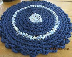 Round Blue Rugs Round Rag Rug Etsy
