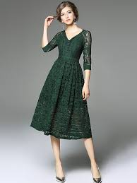 green v neckline hollow out lace dress metisu