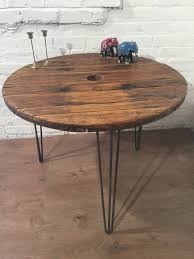 Hairpin Leg Dining Table Cable Drum Hairpin Leg Vintage Industrial Reclaimed Wood