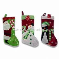 Christmas Stocking Decorations Polyester Felt Stocking In Festival Colors And Designs For