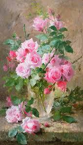 Life Of A Flower - still life of roses in a glass vase by frans mortelmans i u0027m in