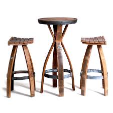 Wine Barrel Bar Table with Wine Barrel Bar Set One Table Two Stools Wine Barrels