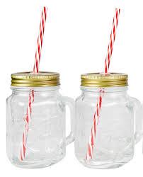 amazon com mason jar mugs with handle tin lid and plastic