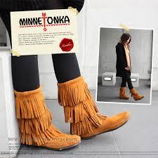 womens fringe boots canada minnetonka 3 layer fringe boot womens boots sale abba lk