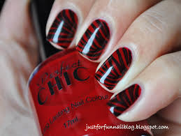 just for fun red zebra nails